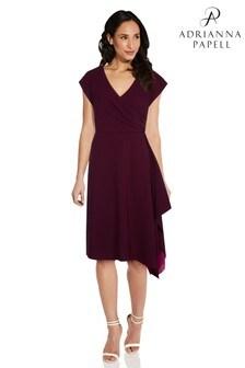 Adrianna Papell Purple Colorblocked Crepe Dress