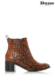 Dune London Animal Plaza Leather Stud Gusset Heel Ankle Boots