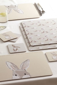 Set of 4 Bunny Placemats And Coasters