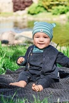 Polarn O. Pyret Blue Organic Cotton Fine Knit Cardigan
