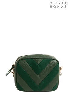 Oliver Bonas Green Emilia Chevron Camera Cross-Body Bag