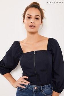 Mint Velvet Zip Front Puff Sleeve Bodice T-Shirt