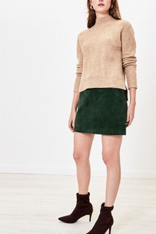 Oasis Green Suede Mini Skirt