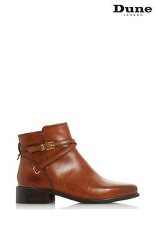 Dune London Peper Tan Leather Gold Trim Ankle Boots
