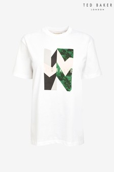 Ted Baker White Printed Boxy T-Shirt