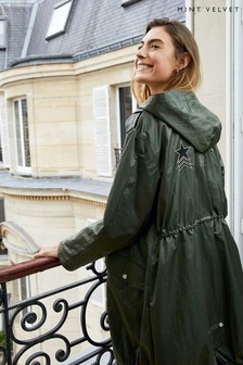 Mint Velvet Green Khaki Star Back Parka