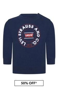 Levis Kidswear Baby Boys Blue Cotton Crew Neck Sweater