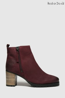 Red Or Dead Burgundy Ramp Nubuck Leather Boots