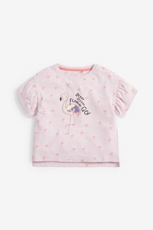 Sequin All Over Print Flamingo T-Shirt (3-16yrs)