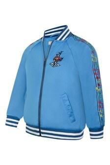 Boys Blue Satin Bomber Jacket