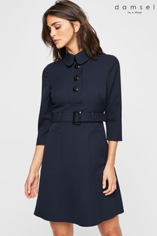 Damsel In A Dress Blue Adie Button Detail Dress