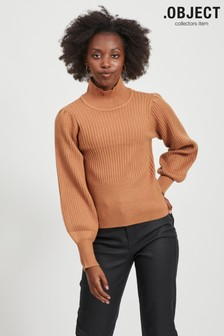 OBJECT Tan Cropped Puff Sleeve Jumper