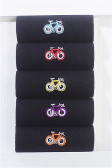 Bike Embroidered Socks Five Pack
