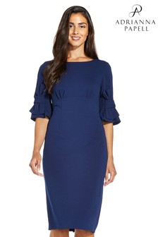 Adrianna Papell Blue Knit Crepe Bow Detail Sheath Dress