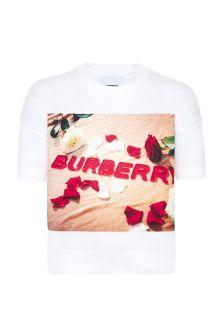 Burberry Kids Girls White Cotton Sweat Top