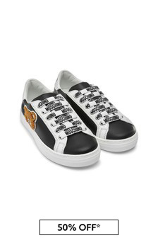 Moschino Kids Kids Black Leather Trainers