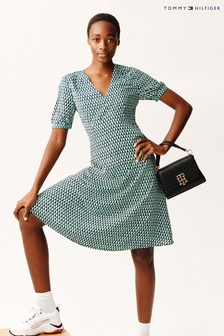 Tommy Hilfiger Green Poplin Fit And Flare Dress