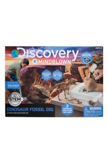Discovery #Mindblown Dinosaur Excavation 3D Skeleton Puzzle Kit - T-Rex 15pc & Velociraptor 10pc
