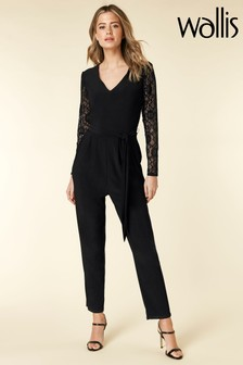Wallis Petite Black Lace Sleeve Jumpsuit