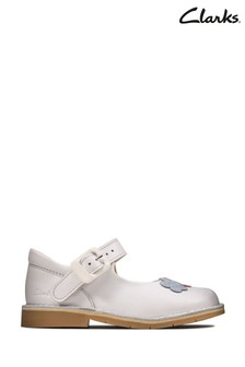 Clarks White Comet Gem T Shoes