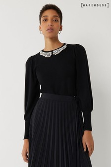 Warehouse Black Pearl Neck Puff Sleeve Jumper