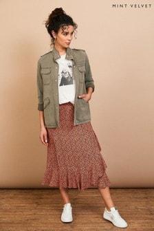 Mint Velvet Ella Animal Print Midi Skirt