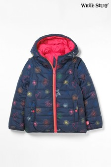 White Stuff Blue Kids Scribble Reversible Coat Gilet