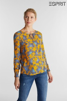 Esprit Yellow Long Sleeved Viscose Crepe Blouse