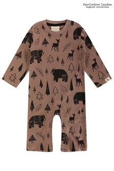 Turtledove London Brown Winter Day AOP Playsuit