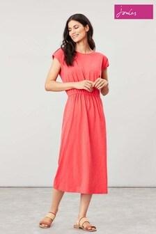 Joules Pink Alma Solid Jersey Midi Dress