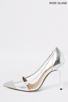 River Island Silver Perspex Embellished Court Shoes