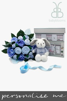 Babyblooms Luxury Blue Baby Clothes Bouquet & Personalised Baby Bunny Soft Toy