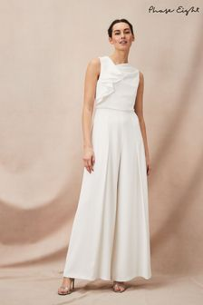 Phase Eight Cream Maeve Frill Detail Jumpsuit