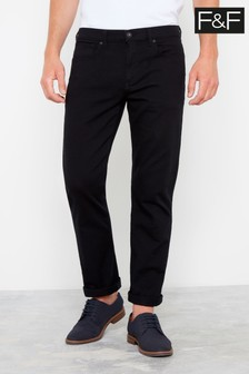 F&F Black Twill Straight Trousers
