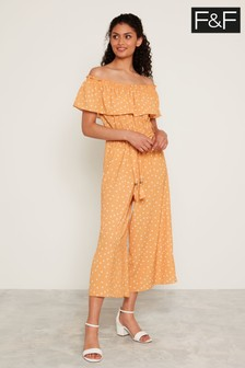 F&F Yellow Polka Dot Culotte Jumpsuit