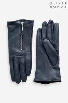 Niebieskie skórzane rękawiczki z suwakiem Oliver Bonas