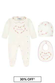 Monnalisa Baby Girls White Cotton Gift Set