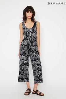 Warehouse Blue Dye Chevron Culotte Jumpsuit