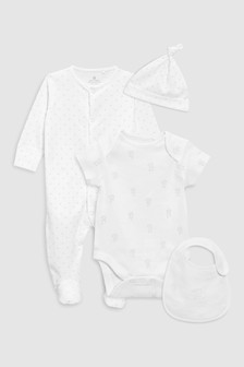 Printed Sleepsuit, Short Sleeved Bodysuit, Bib And Hat (0-9mths)