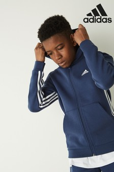 adidas Navy Must Have 3 Stripe Zip Through Hoody