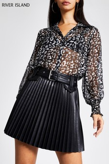 River Island Black PU Pleated Mini Skirt