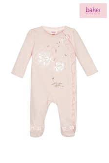 baker by Ted Baker Light Pink Graphic Flamingo Sleepsuit