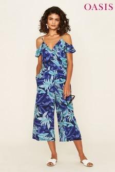 Oasis Blue Tropical Palm Wide Leg Jumpsuit