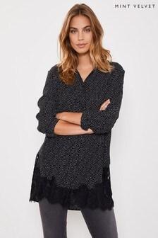 Mint Velvet Black Spotted Lace Hem T-Shirt