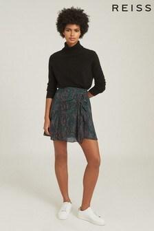 Reiss Green Skyla Printed Mini Skirt