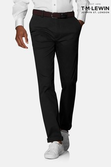 T.M. Lewin Radcliffe Black Larusmiani Blend Slim Fit Chinos