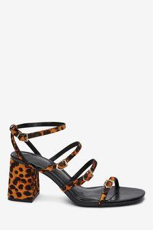 Multi Buckle Block Heel Sandals