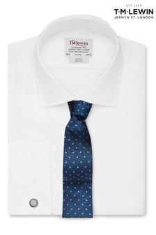 T.M.Lewin Mens White Twill Fitted Button Cuff Shirt