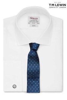 T.M. Lewin White Twill Slim Fit Double Cuff Shirt