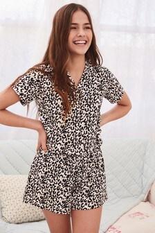 Leopard Print Button Through Pyjamas (2-16yrs)